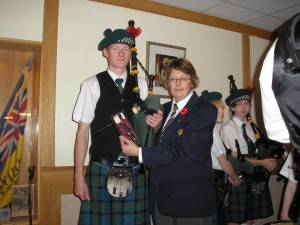 "Presented to most improved piper ""Evan Stewart"" Presented by Murray and Barb Ryder (Murray Ryder not present)"