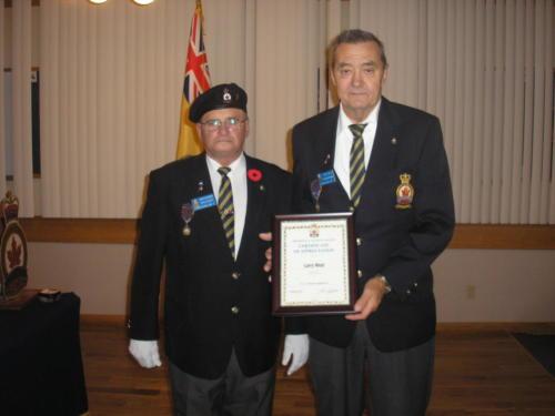 Larry West receives Certificate of Appreciation - Oct 2011